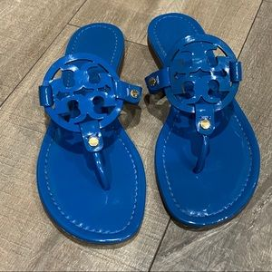 TORY BURCH || Miller Patent Leather Sandal, Blue.
